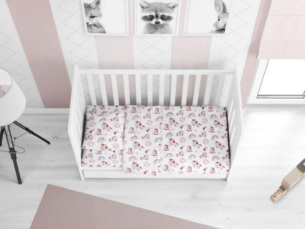 DIMcol ΠΑΠΛΩΜΑ ΕΜΠΡΙΜΕ ΒΡΕΦ Cotton 100% 120Χ160 Unicorn 108 White-Pink