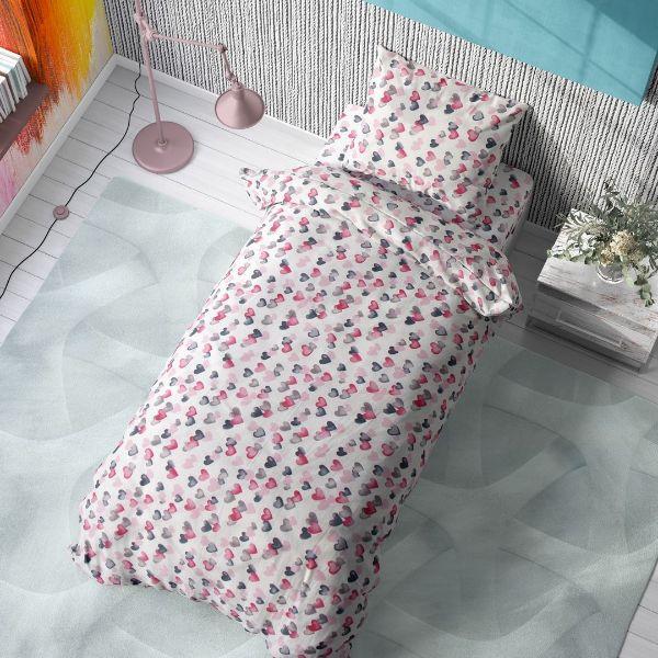 DIMcol ΠΑΠΛΩΜΑ ΕΜΠΡΙΜΕ ΠΑΙΔ Cotton 100% 160Χ240 Hearts 12 Grey-Pink