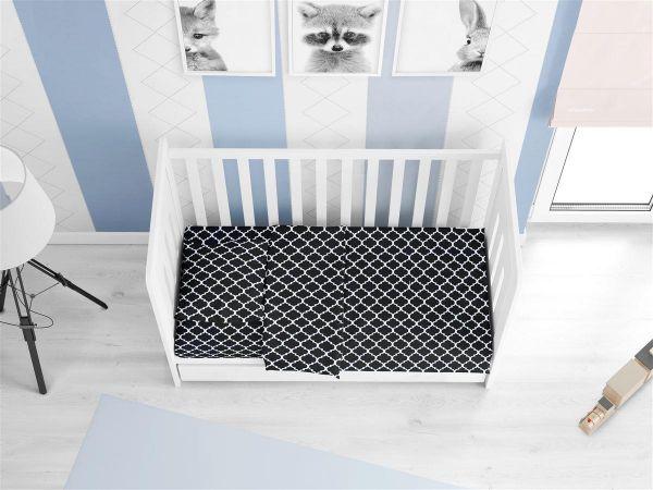 ΚΑΤΩΣΕΝΤΟΝΟ ΜΕ ΛΑΣΤΙΧΟ bebe Windows 175 0,70X1,40X0,15 Dark blue-White Cotton 100%